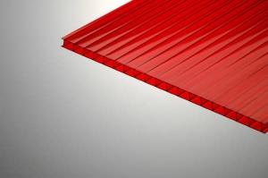 Поликарбонат сотовый 6х2100х12000мм красный, Polygal
