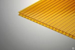 Поликарбонат сотовый 8х2100х12000мм оранжевый, Polygal